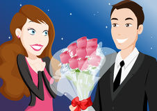 Dating  couple with flowers. Boy with a flower gift Royalty Free Stock Photos