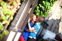 Dating couple kissing on Montmartre Royalty Free Stock Photo