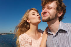 Dating. Couple in love kissing Royalty Free Stock Image