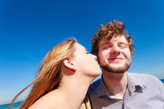 Dating. Couple in love kissing Stock Photos