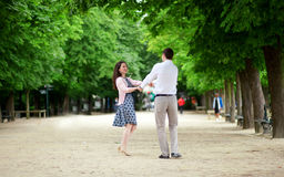 Dating couple in Luxembourg garden. Of Paris royalty free stock photo