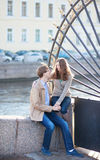 Dating couple near the Summer garden. Dating couple close to the famous grill of the Summer garden in Saint-Petersburg, Russia stock images
