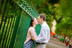 Dating couple outdoors in Paris Royalty Free Stock Photos