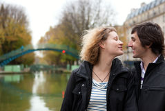 Dating couple in Paris Stock Photo