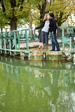 Dating couple in Paris. On canal Saint-Martin stock images