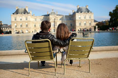 Dating couple in Paris. Dating couple in the Luxembourg garden of Paris royalty free stock photography