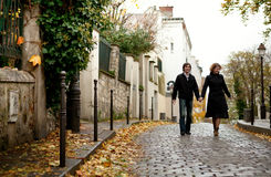 Dating couple in Paris. Couple in Paris at Montmartre stock photos