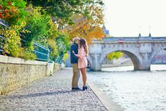 Dating couple in Paris on a fall day Stock Photography