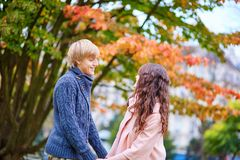 Dating couple in Paris on a fall day Stock Image