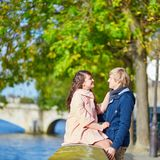Dating couple in Paris on a nice spring day Stock Images