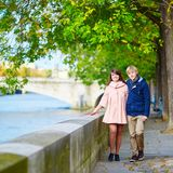 Dating couple in Paris on a nice spring day Royalty Free Stock Image