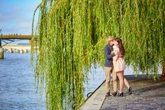 Dating couple in Paris on a nice spring day royalty free stock photos