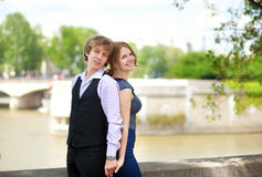 Dating couple in Paris, outdoors Stock Photo