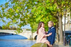 Dating couple in Paris on a spring day Royalty Free Stock Images