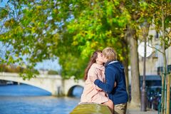 Dating couple in Paris on a spring day Royalty Free Stock Photos