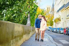 Dating couple in Paris on a spring day Royalty Free Stock Photo