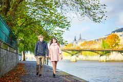 Dating couple in Paris on a spring day Royalty Free Stock Image