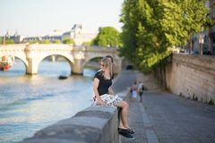Dating couple in Paris on a summer day Stock Photo