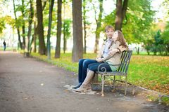 Dating couple in park Stock Image