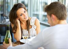 Dating Couple at a Restaurant Stock Image