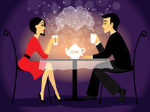 Dating couple scene, love confession. Vector illustration Royalty Free Stock Photos