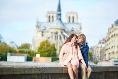 Dating couple on the Seine embankment in Paris Royalty Free Stock Image