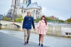 Dating couple on the Seine embankment in Paris Stock Image