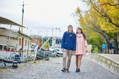 Dating couple on the Seine embankment Stock Images