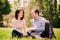 Dating couple - talking togethe Stock Photography