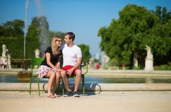 Dating couple in the Tuileries garden of Paris Stock Images