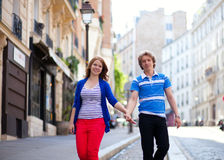 Dating couple walking on Montmartre Royalty Free Stock Images