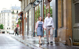 Dating couple walking in Paris Stock Photo
