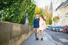 Dating couple walking in Paris Royalty Free Stock Image