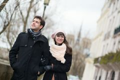 Dating couple walking in Paris Stock Photos