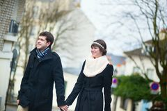 Dating couple walking in Paris Royalty Free Stock Images