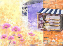 Dating couples. Cafes and flowers landscape- eps10 Royalty Free Stock Photography