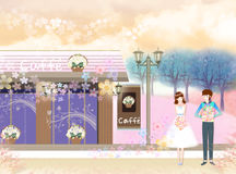 Dating couples. The couple married in a cafe - eps10 Royalty Free Stock Photos