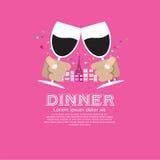 Dating Dinner. stock illustration