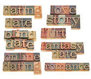 Dating, flirt  and romance. Dating, romance, flirt, love story  - collage of isolated words in vintage wood letterpress type Stock Photo