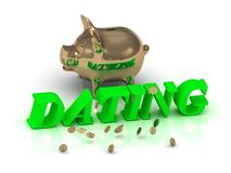 DATING - inscription of bright green letters and gold Piggy Royalty Free Stock Photography
