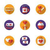 Dating and love round flat color icons Royalty Free Stock Photography
