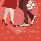 Dating man and woman, greeting card. Dating man and woman, vector romantic greeting card Stock Photos