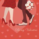 Dating man and woman, greeting card Stock Photos