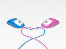 Dating Mice. Pink and Blue Computer Mice with cords forming a heart shape to represent internet dating Stock Photography