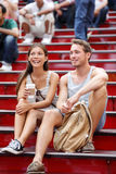 Dating multiracial tourist couple in New York Royalty Free Stock Images