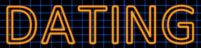 Dating neon sign. Abstract 3d rendered words dating orange neon sign on blue wire background Stock Image