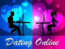 Dating Online Indicates Sweethearts Romance And Partner Royalty Free Stock Photos