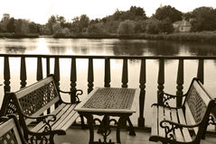 Dating place. Restaurant on a shore of a lake, good place for dating, meeting having dinner stock photography