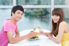 Dating at restaurant Stock Images