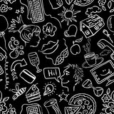 Dating and romance. Doodle seamless pattern Stock Photo